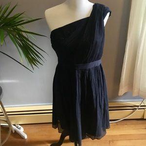 J.Crew Navy Blue Asymmetrical Bridesmaids Dress